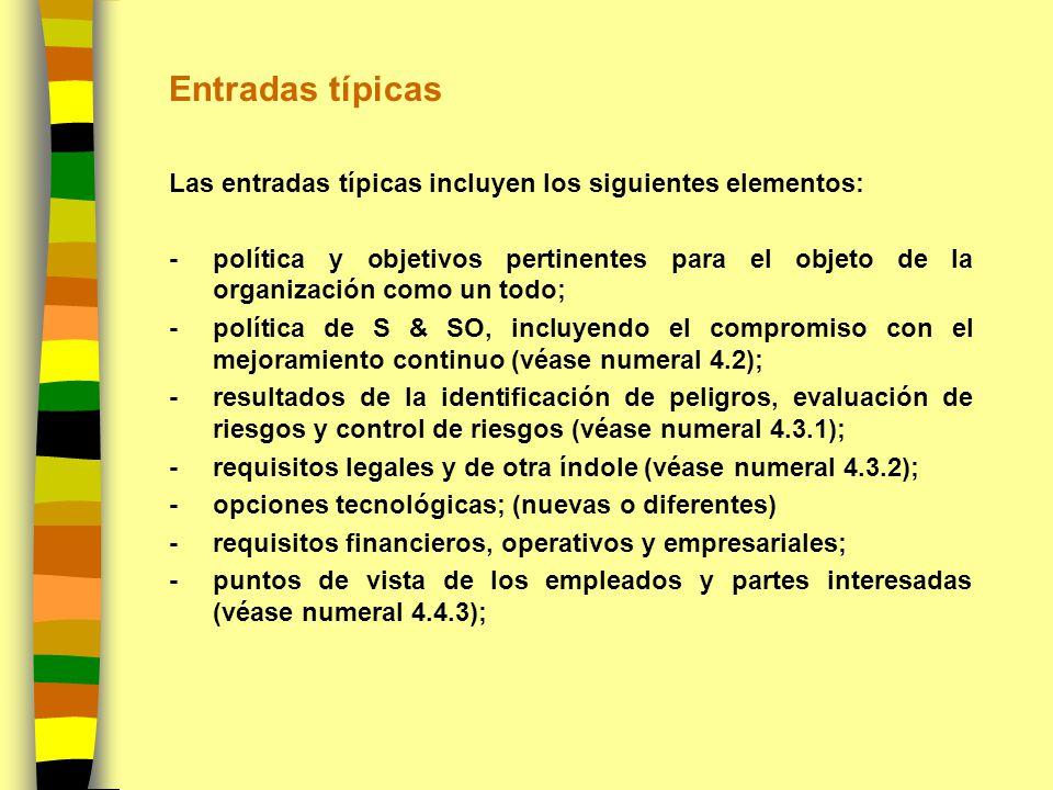 Entradas típicas Las entradas típicas incluyen los siguientes elementos: -política y objetivos pertinentes para el objeto de la organización como un t
