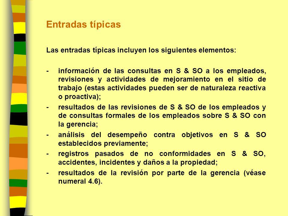 Entradas típicas Las entradas típicas incluyen los siguientes elementos: -información de las consultas en S & SO a los empleados, revisiones y activid
