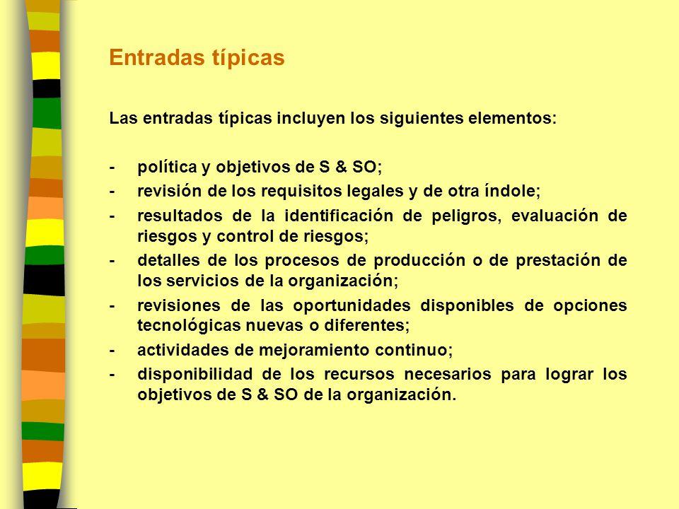 Entradas típicas Las entradas típicas incluyen los siguientes elementos: -política y objetivos de S & SO; -revisión de los requisitos legales y de otr