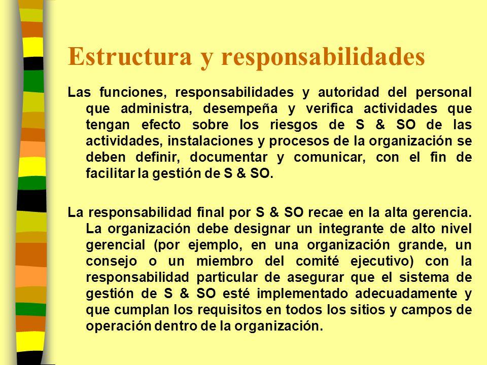 Estructura y responsabilidades Las funciones, responsabilidades y autoridad del personal que administra, desempeña y verifica actividades que tengan e