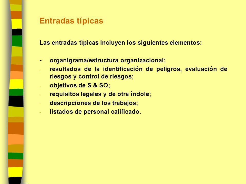 Entradas típicas Las entradas típicas incluyen los siguientes elementos: -organigrama/estructura organizacional; - resultados de la identificación de