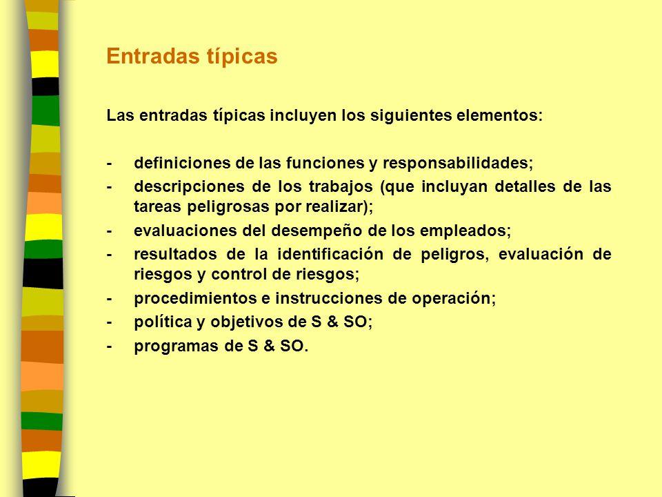 Entradas típicas Las entradas típicas incluyen los siguientes elementos: -definiciones de las funciones y responsabilidades; - descripciones de los tr