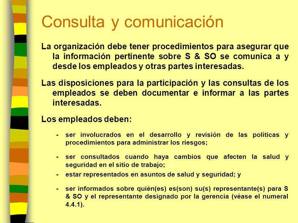 Consulta y comunicación La organización debe tener procedimientos para asegurar que la información pertinente sobre S & SO se comunica a y desde los e