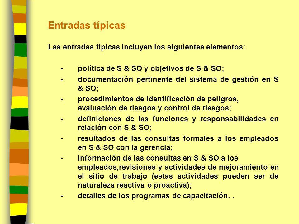 Entradas típicas Las entradas típicas incluyen los siguientes elementos: - política de S & SO y objetivos de S & SO; - documentación pertinente del si