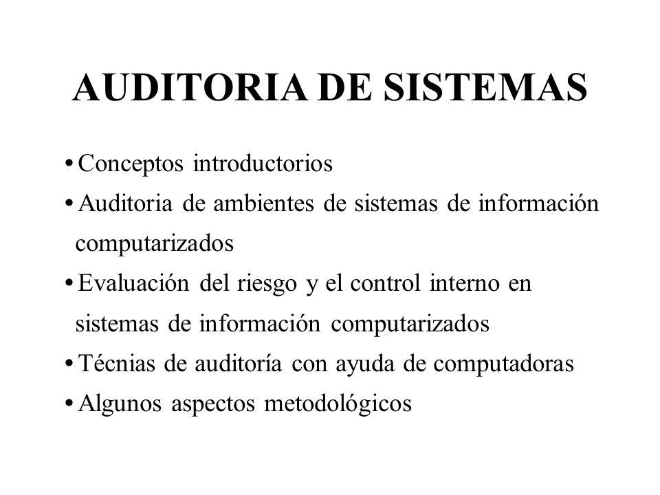 AUDITORIA DE SISTEMAS Conceptos introductorios Auditoria de ambientes de sistemas de información computarizados Evaluación del riesgo y el control int