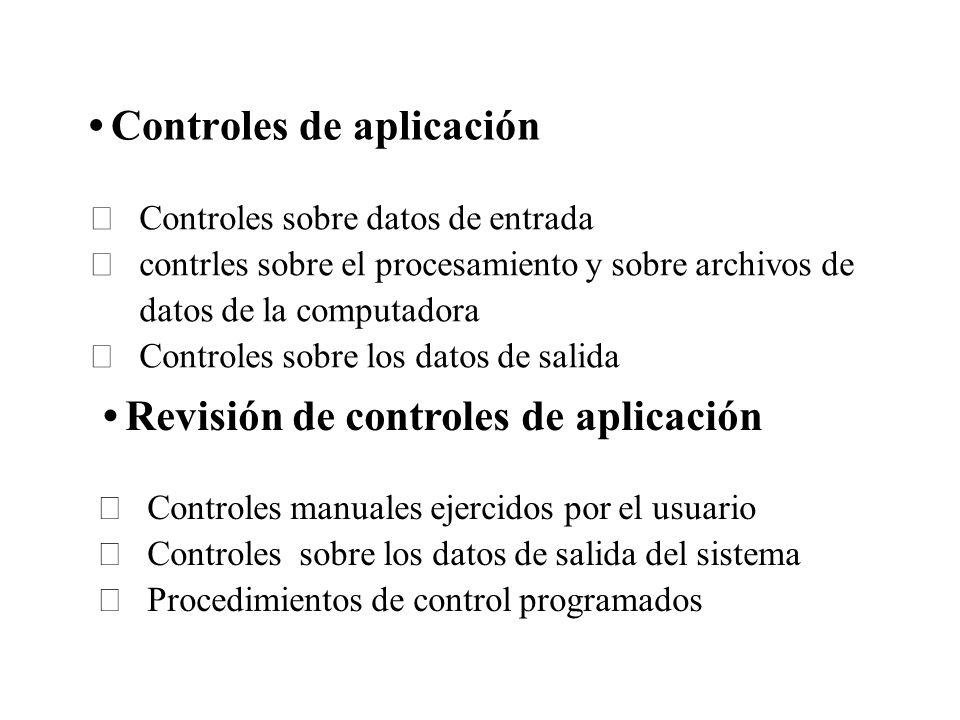 Controles de aplicación Controles sobre datos de entrada contrles sobre el procesamiento y sobre archivos de datos de la computadora Controles sobre l