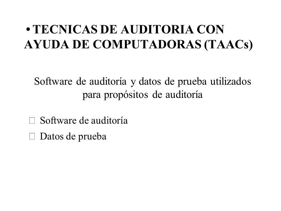 TECNICAS DE AUDITORIA CON AYUDA DE COMPUTADORAS (TAACs) Software de auditoría y datos de prueba utilizados para propósitos de auditoría Software de au