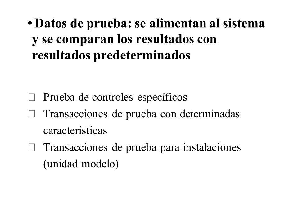 Datos de prueba: se alimentan al sistema y se comparan los resultados con resultados predeterminados Prueba de controles específicos Transacciones de
