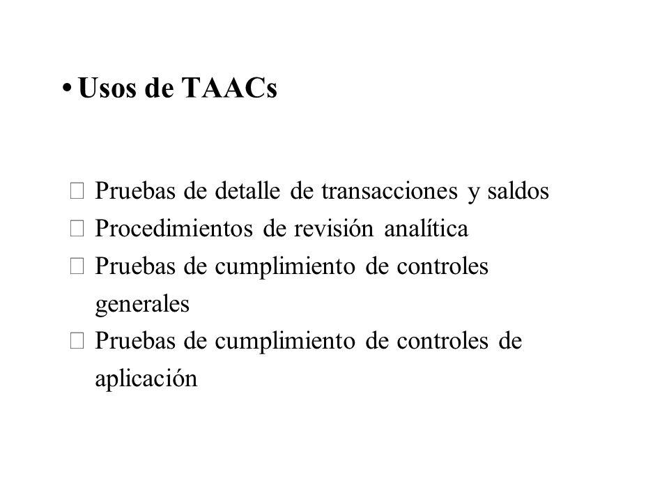 Usos de TAACs Pruebas de detalle de transacciones y saldos Procedimientos de revisión analítica Pruebas de cumplimiento de controles generales Pruebas