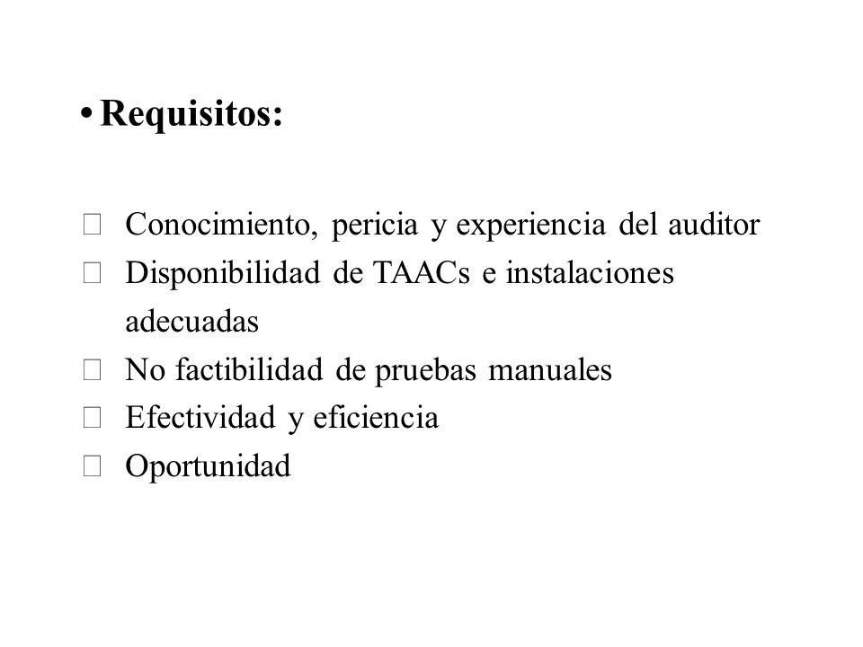 Requisitos: Conocimiento, pericia y experiencia del auditor Disponibilidad de TAACs e instalaciones adecuadas No factibilidad de pruebas manuales Efec