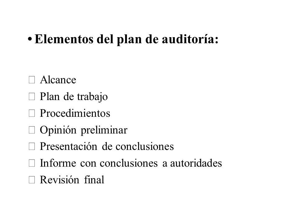 Elementos del plan de auditoría: Alcance Plan de trabajo Procedimientos Opinión preliminar Presentación de conclusiones Informe con conclusiones a aut
