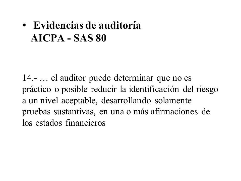 Evidencias de auditoría AICPA - SAS 80 14.- … el auditor puede determinar que no es práctico o posible reducir la identificación del riesgo a un nivel
