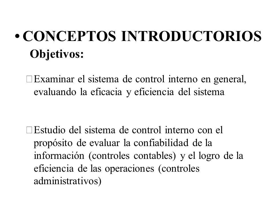 CONCEPTOS INTRODUCTORIOS Examinar el sistema de control interno en general, evaluando la eficacia y eficiencia del sistema Estudio del sistema de co