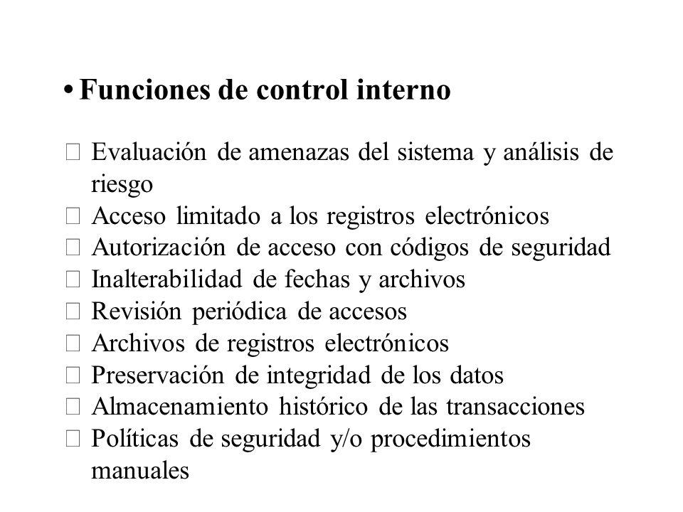 Funciones de control interno Evaluación de amenazas del sistema y análisis de riesgo Acceso limitado a los registros electrónicos Autorización de acce