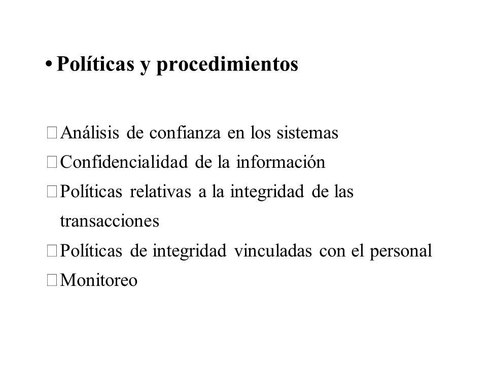 Políticas y procedimientos Análisis de confianza en los sistemas Confidencialidad de la información Políticas relativas a la integridad de las transac