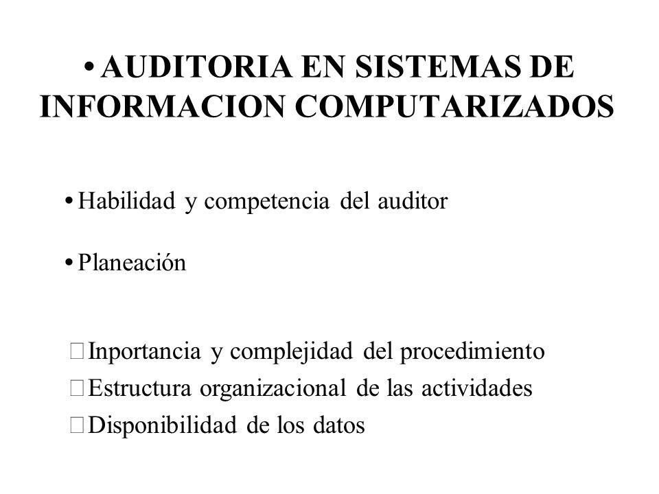 AUDITORIA EN SISTEMAS DE INFORMACION COMPUTARIZADOS Habilidad y competencia del auditor Planeación Inportancia y complejidad del procedimiento Estruct