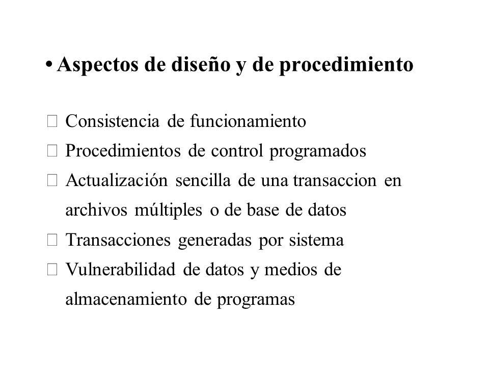 Aspectos de diseño y de procedimiento Consistencia de funcionamiento Procedimientos de control programados Actualización sencilla de una transaccion e