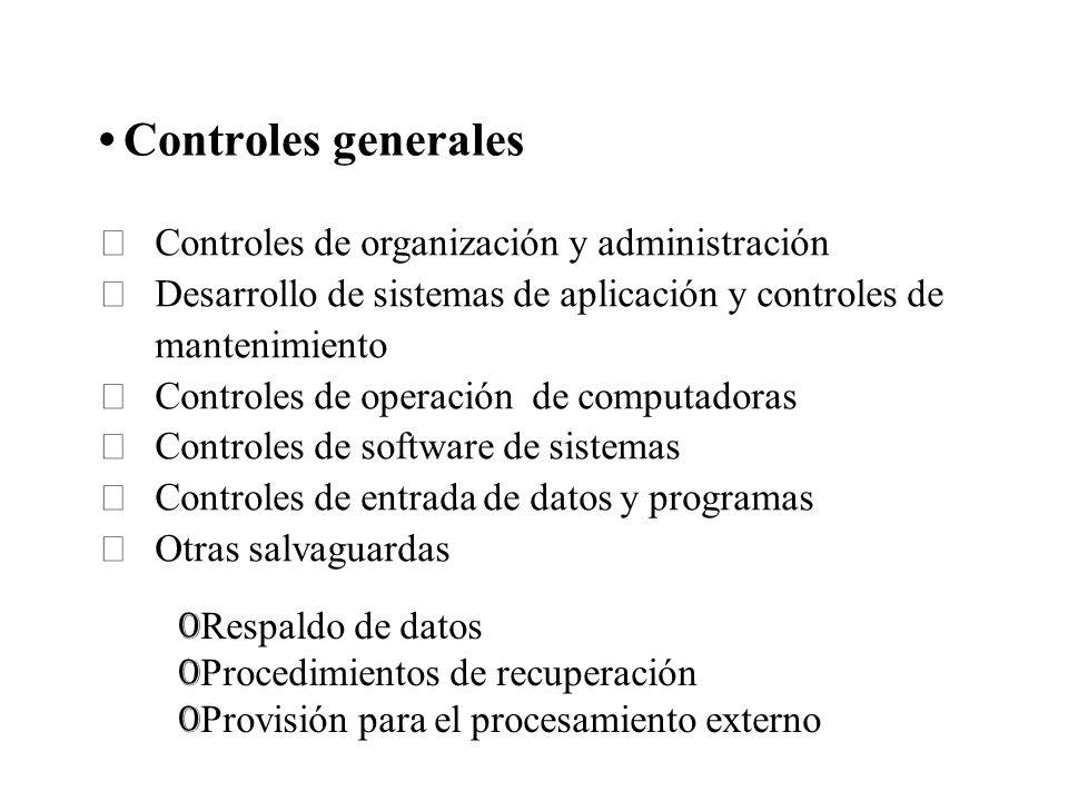 Controles generales Controles de organización y administración Desarrollo de sistemas de aplicación y controles de mantenimiento Controles de operació