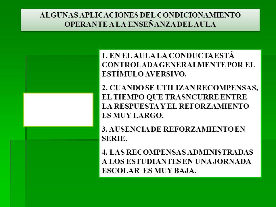 ALGUNAS APLICACIONES DEL CONDICIONAMIENTO OPERANTE A LA ENSEÑANZA DEL AULA CRÍTICA DE SKINNER A LA ENSEÑANZA TRADICIONAL 1.