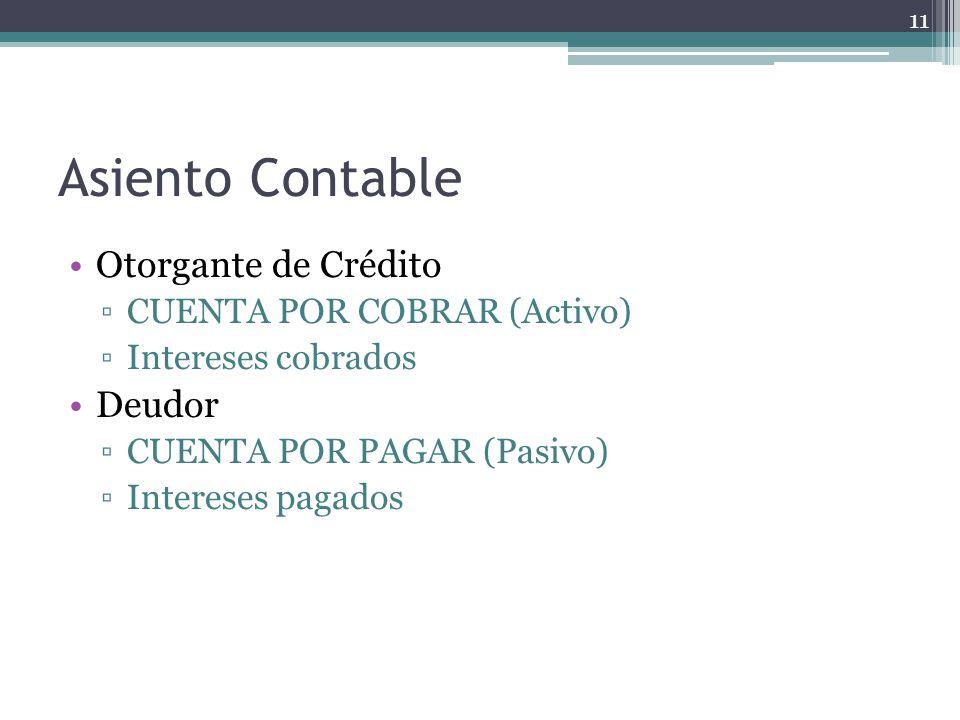 Asiento Contable Otorgante de Crédito CUENTA POR COBRAR (Activo) Intereses cobrados Deudor CUENTA POR PAGAR (Pasivo) Intereses pagados 11