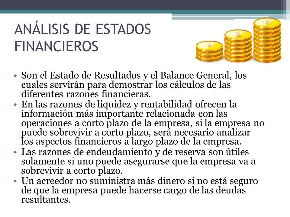 ANÁLISIS DE ESTADOS FINANCIEROS Son el Estado de Resultados y el Balance General, los cuales servirán para demostrar los cálculos de las diferentes ra