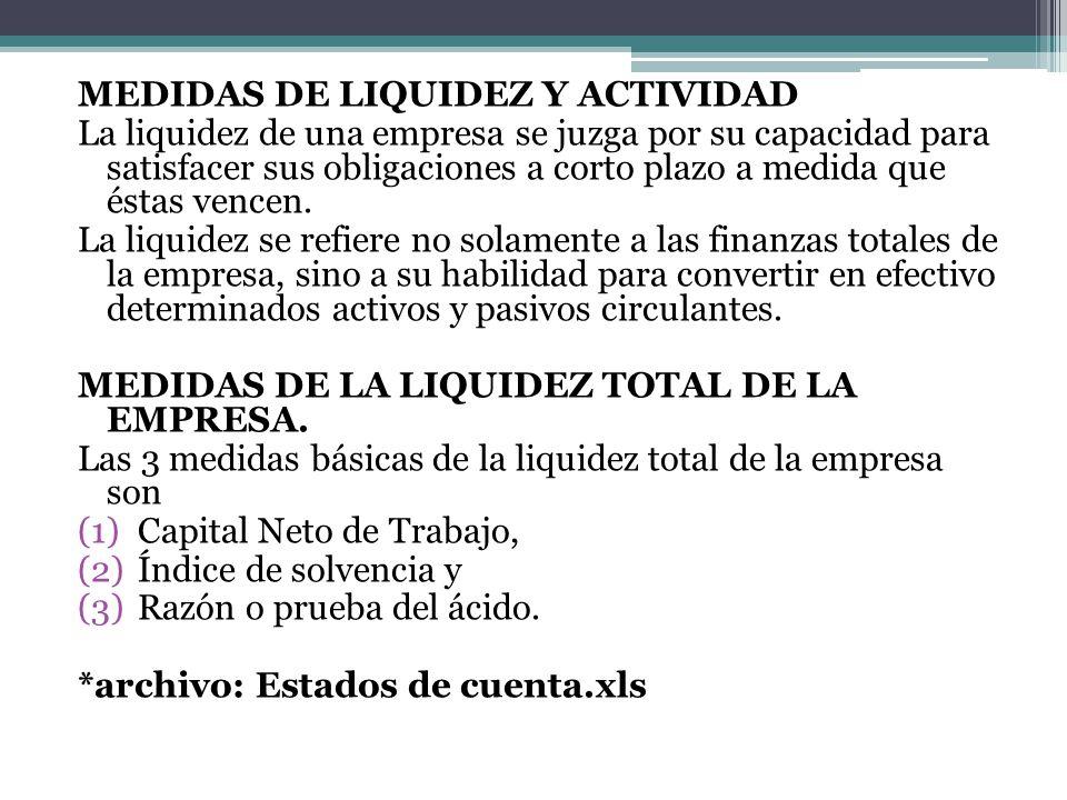 MEDIDAS DE LIQUIDEZ Y ACTIVIDAD La liquidez de una empresa se juzga por su capacidad para satisfacer sus obligaciones a corto plazo a medida que éstas