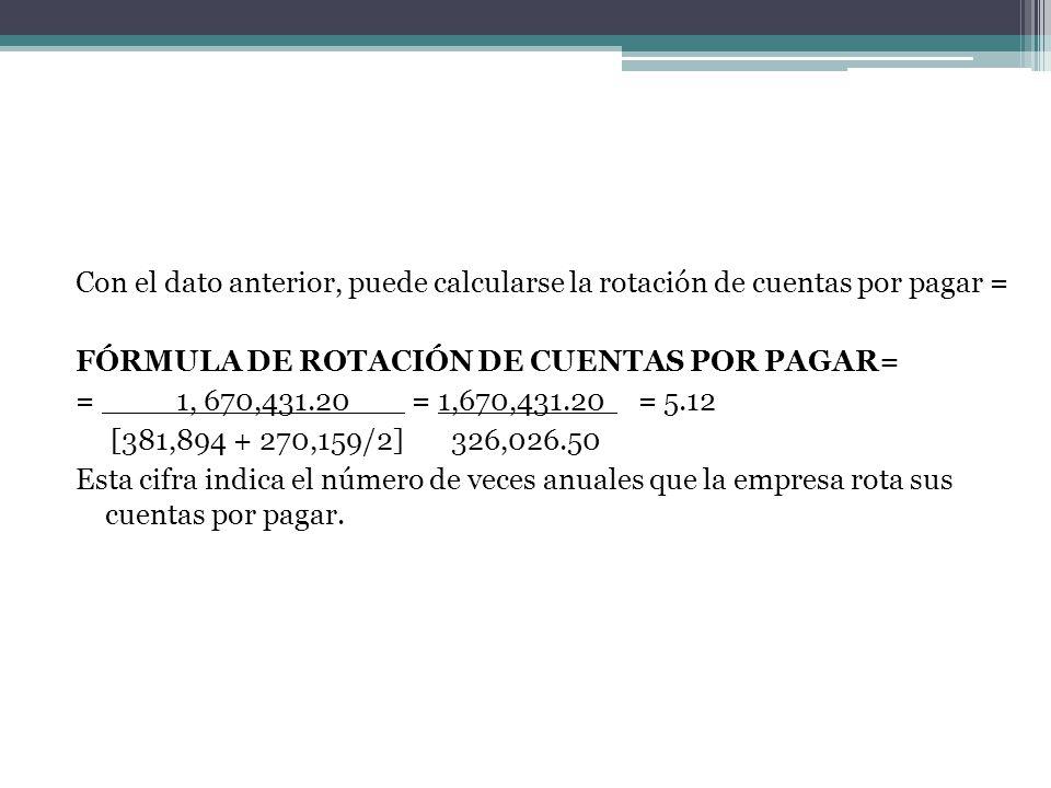 Con el dato anterior, puede calcularse la rotación de cuentas por pagar = FÓRMULA DE ROTACIÓN DE CUENTAS POR PAGAR= = ____1, 670,431.20 = 1,670,431.20