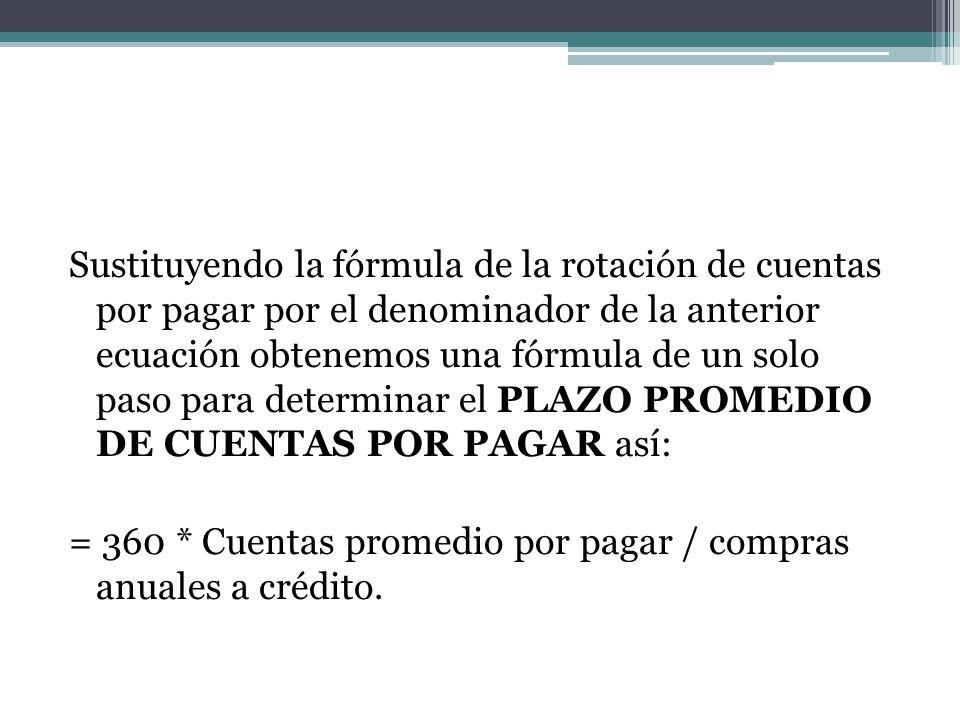 Sustituyendo la fórmula de la rotación de cuentas por pagar por el denominador de la anterior ecuación obtenemos una fórmula de un solo paso para dete