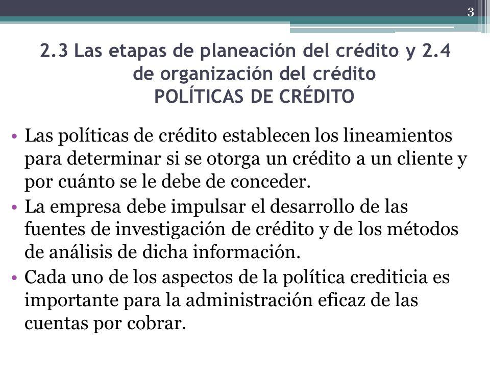 2.3 Las etapas de planeación del crédito y 2.4 de organización del crédito POLÍTICAS DE CRÉDITO Las políticas de crédito establecen los lineamientos p