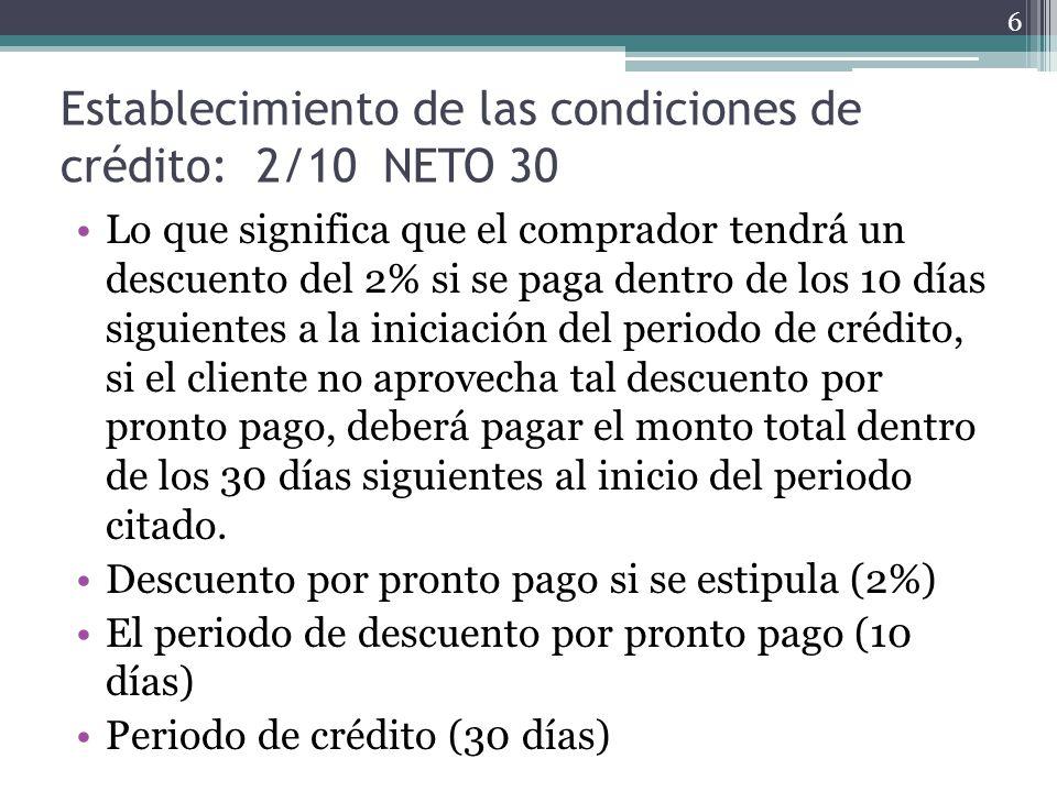 Establecimiento de las condiciones de crédito: 2/10 NETO 30 Lo que significa que el comprador tendrá un descuento del 2% si se paga dentro de los 10 d