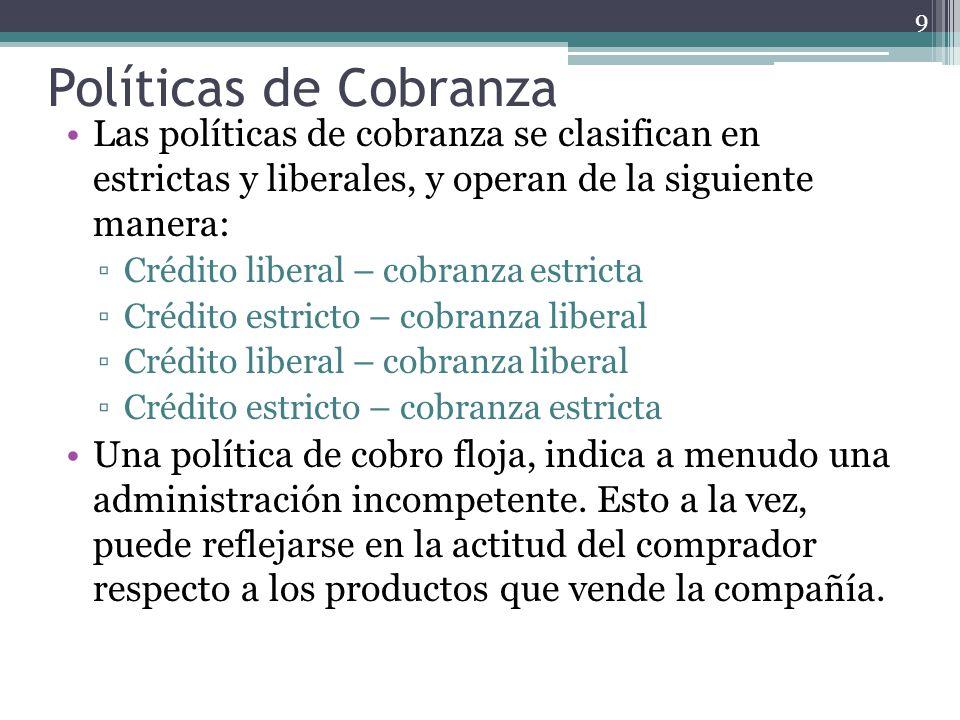 Las políticas de cobranza se clasifican en estrictas y liberales, y operan de la siguiente manera: Crédito liberal – cobranza estricta Crédito estrict