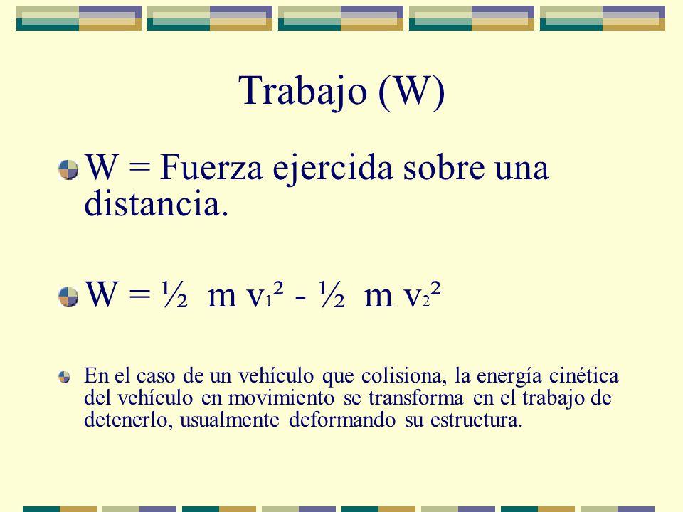Trabajo (W) W = Fuerza ejercida sobre una distancia. W = ½ m v 1 ² - ½ m v 2 ² En el caso de un vehículo que colisiona, la energía cinética del vehícu
