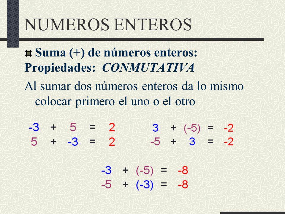 NUMEROS ENTEROS Suma (+) de números enteros: Propiedades: CONMUTATIVA Al sumar dos números enteros da lo mismo colocar primero el uno o el otro