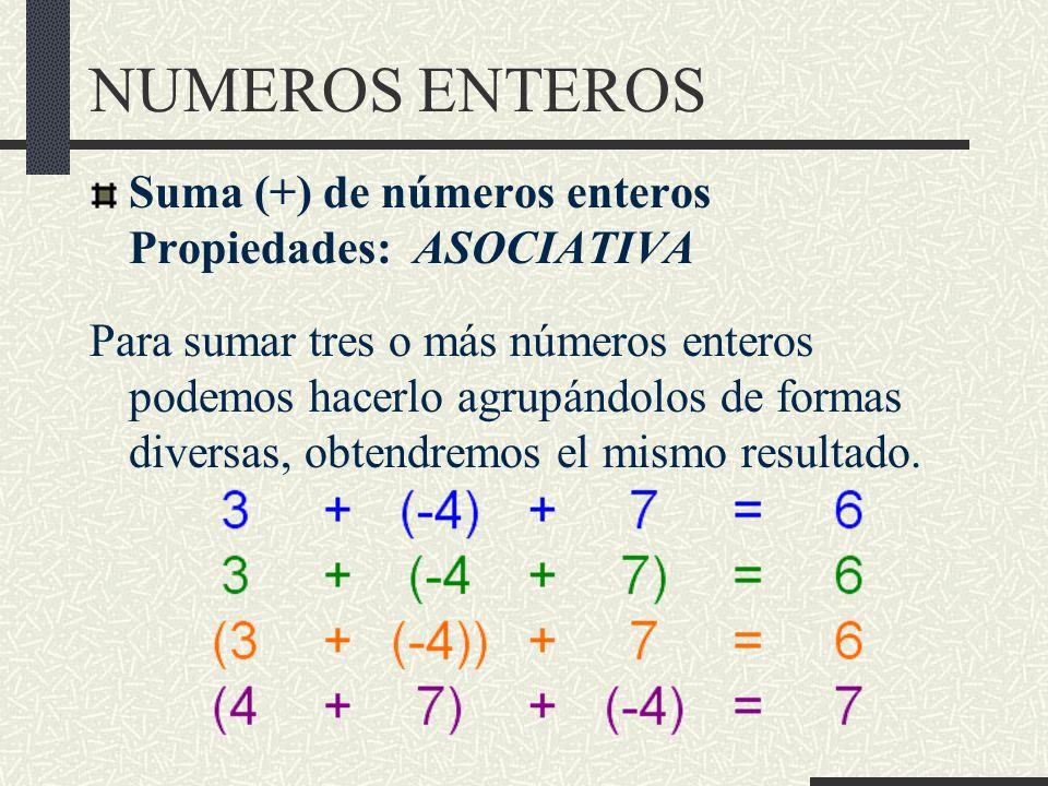 NUMEROS ENTEROS Suma (+) de números enteros Propiedades: ASOCIATIVA Para sumar tres o más números enteros podemos hacerlo agrupándolos de formas diversas, obtendremos el mismo resultado.