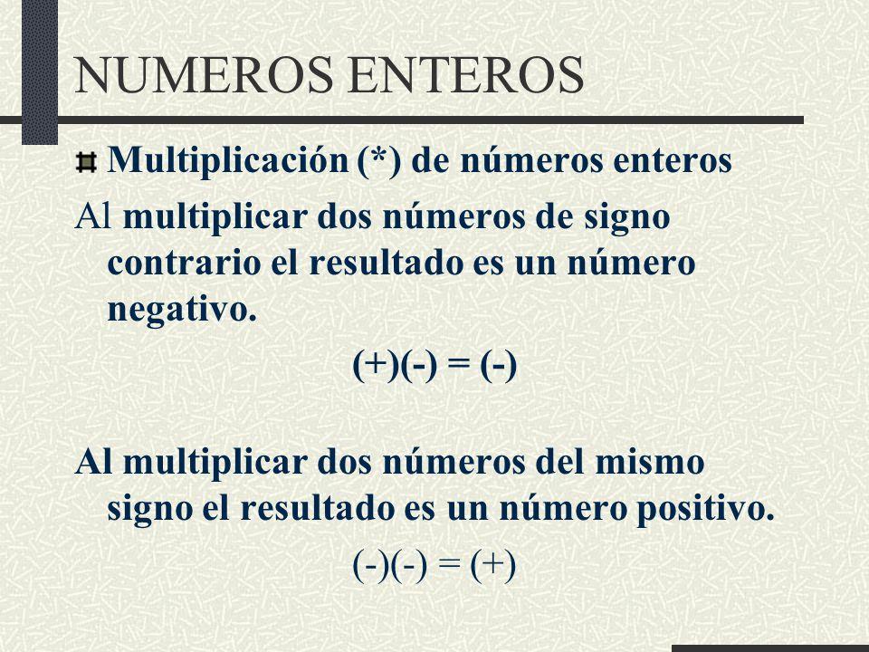 NUMEROS ENTEROS Multiplicación (*) de números enteros Al multiplicar dos números de signo contrario el resultado es un número negativo.