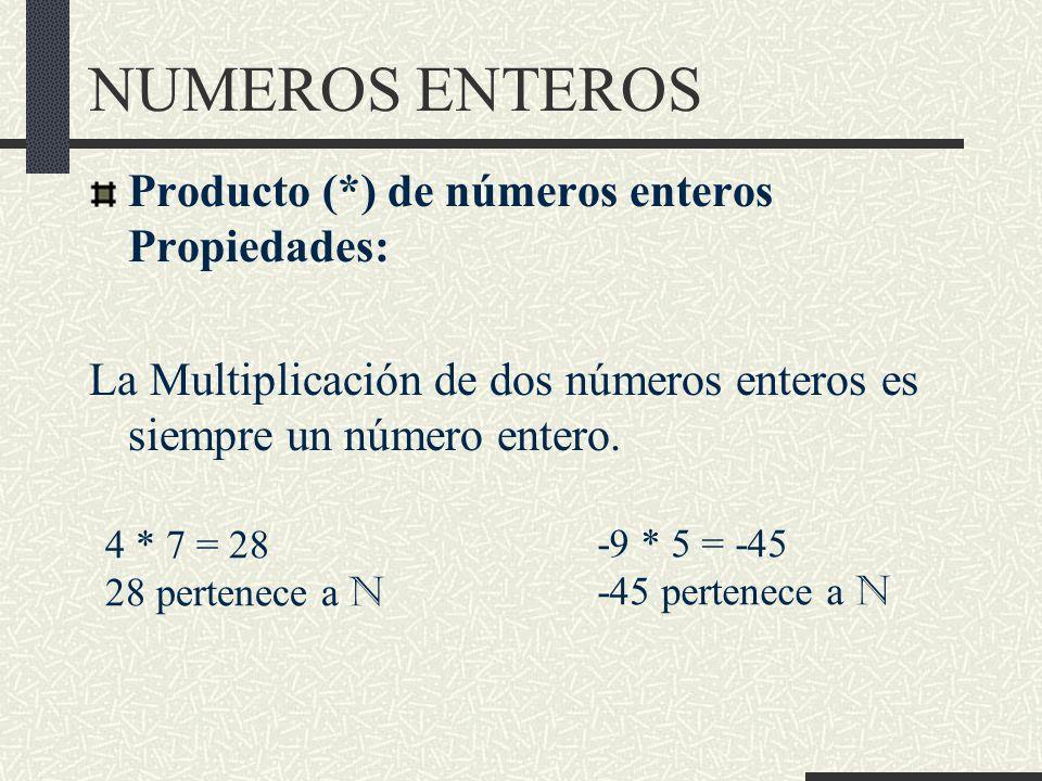 NUMEROS ENTEROS Producto (*) de números enteros Propiedades: La Multiplicación de dos números enteros es siempre un número entero.