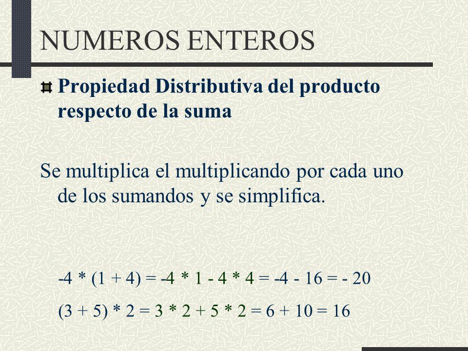 NUMEROS ENTEROS Propiedad Distributiva del producto respecto de la suma Se multiplica el multiplicando por cada uno de los sumandos y se simplifica.