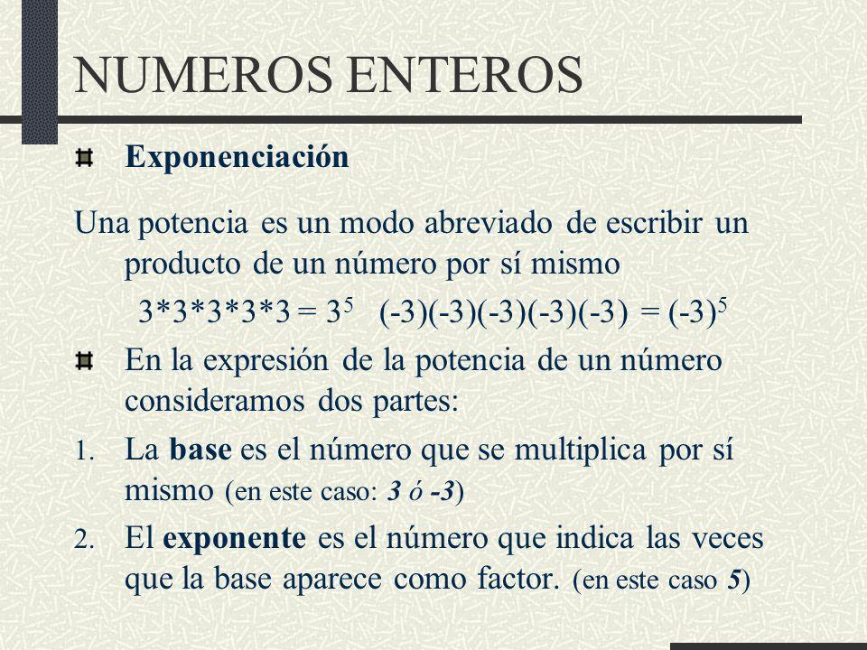 NUMEROS ENTEROS Exponenciación Una potencia es un modo abreviado de escribir un producto de un número por sí mismo 3*3*3*3*3 = 3 5 (-3)(-3)(-3)(-3)(-3) = (-3) 5 En la expresión de la potencia de un número consideramos dos partes: 1.