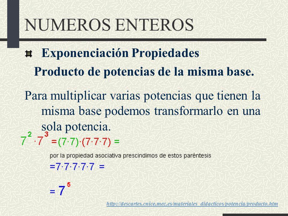NUMEROS ENTEROS Exponenciación Propiedades Producto de potencias de la misma base.