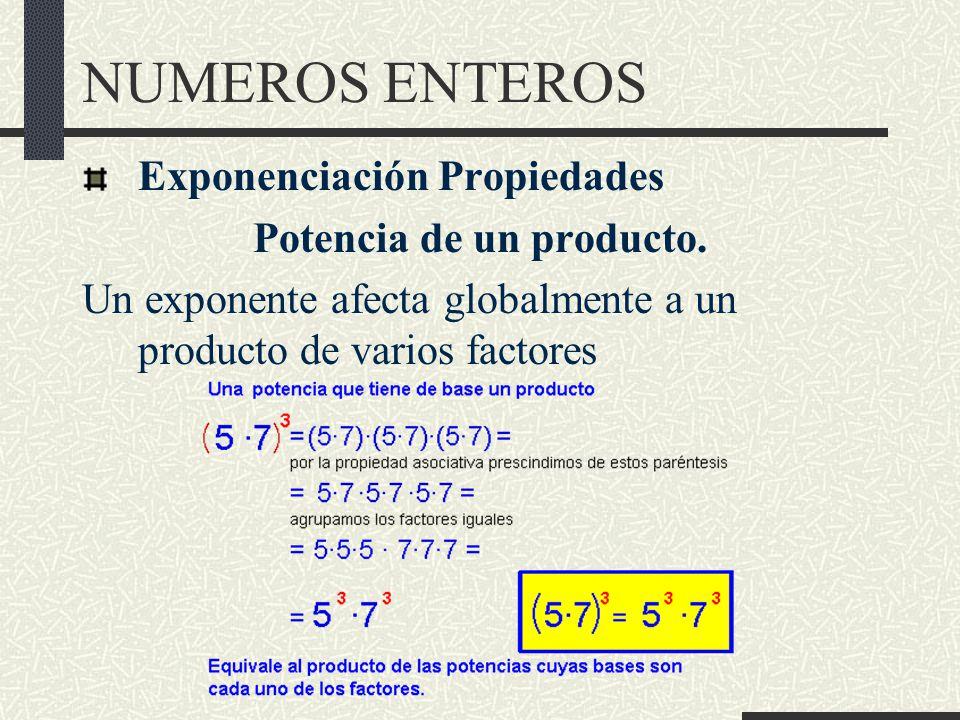NUMEROS ENTEROS Exponenciación Propiedades Potencia de un producto.