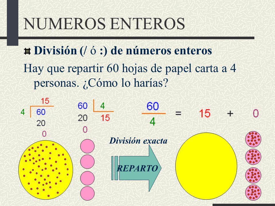 NUMEROS ENTEROS División (/ ó :) de números enteros Hay que repartir 60 hojas de papel carta a 4 personas.