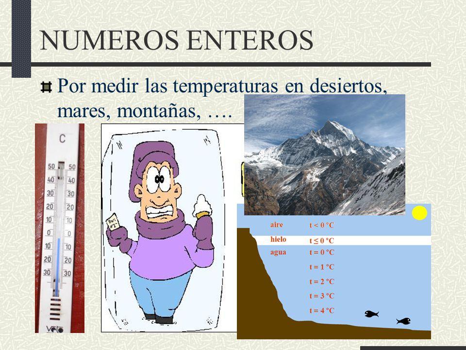NUMEROS ENTEROS Por medir las temperaturas en desiertos, mares, montañas, ….