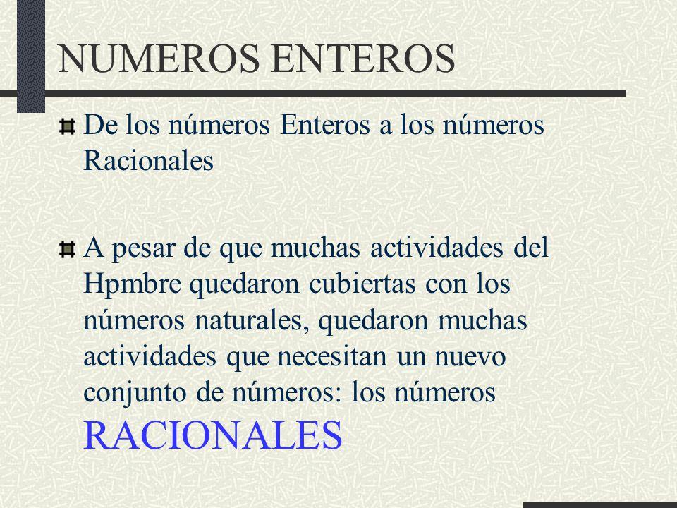 De los números Enteros a los números Racionales A pesar de que muchas actividades del Hpmbre quedaron cubiertas con los números naturales, quedaron muchas actividades que necesitan un nuevo conjunto de números: los números RACIONALES