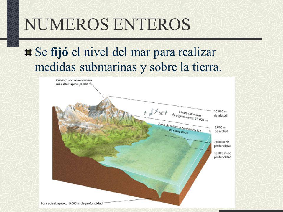 NUMEROS ENTEROS Se fijó el nivel del mar para realizar medidas submarinas y sobre la tierra.