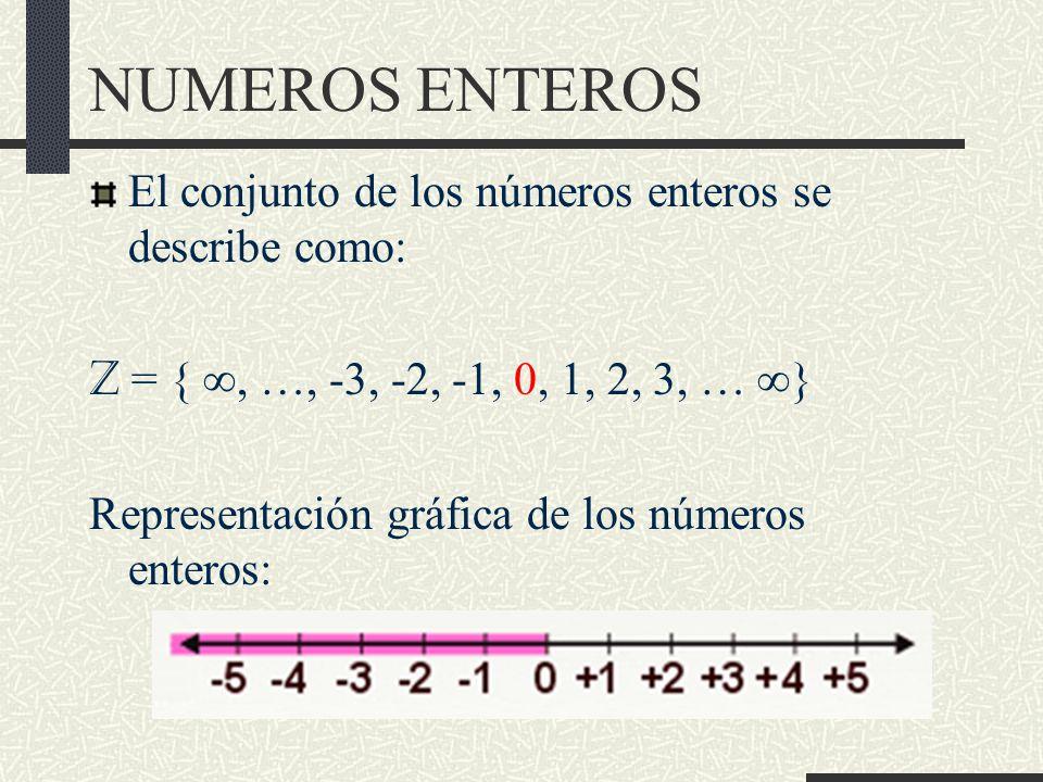 NUMEROS ENTEROS El conjunto de los números enteros se describe como: Z = {, …, -3, -2, -1, 0, 1, 2, 3, … } Representación gráfica de los números enteros: