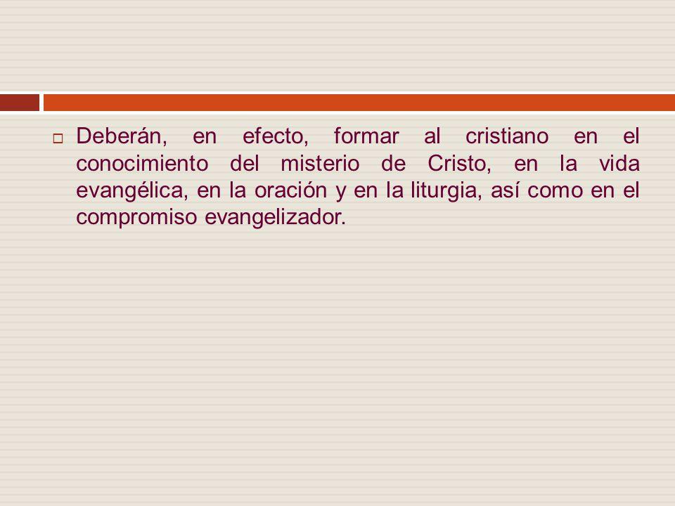 Deberán, en efecto, formar al cristiano en el conocimiento del misterio de Cristo, en la vida evangélica, en la oración y en la liturgia, así como en el compromiso evangelizador.