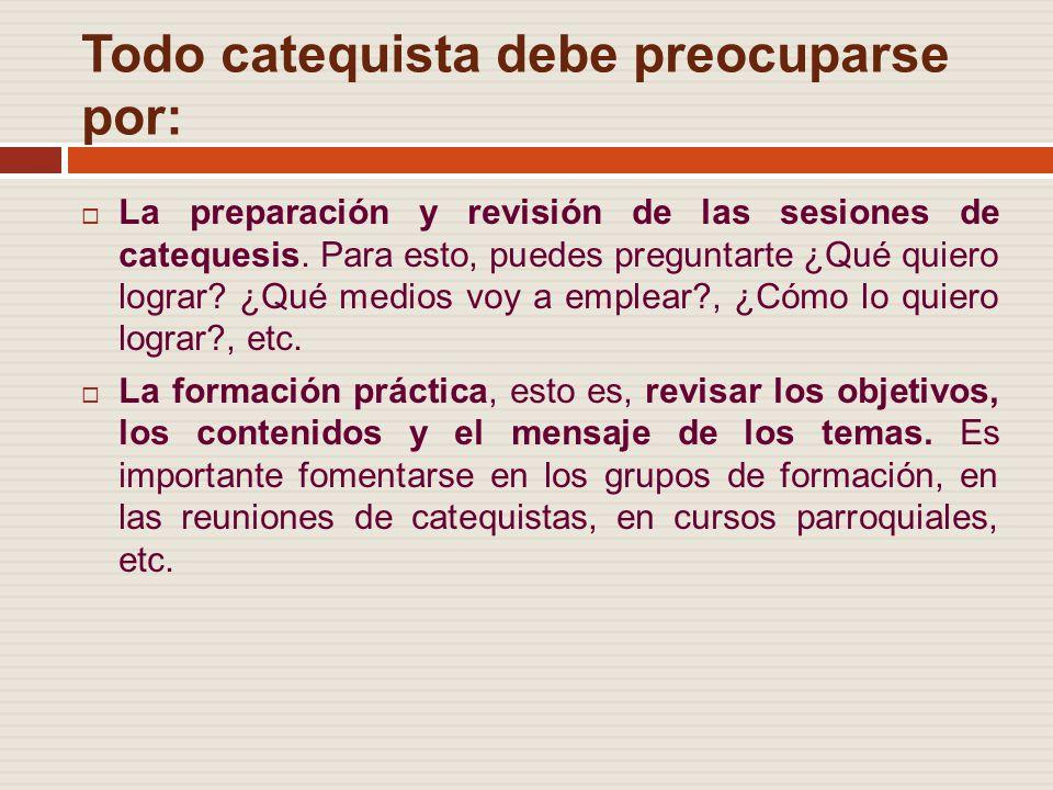 Todo catequista debe preocuparse por: La preparación y revisión de las sesiones de catequesis.