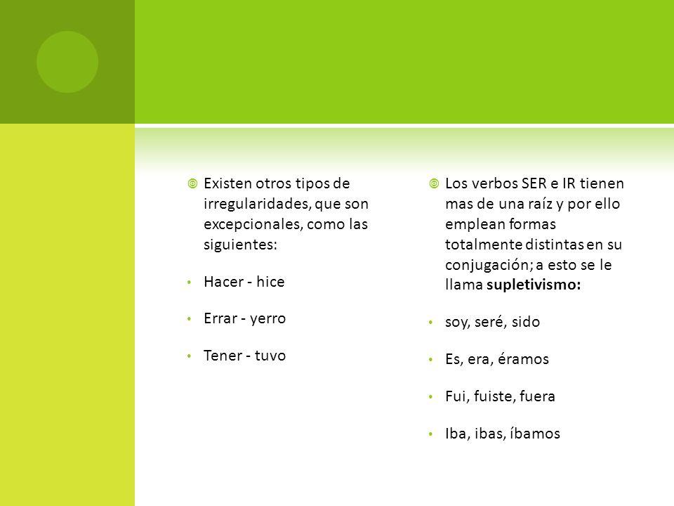 Existen otros tipos de irregularidades, que son excepcionales, como las siguientes: Hacer - hice Errar - yerro Tener - tuvo Los verbos SER e IR tienen