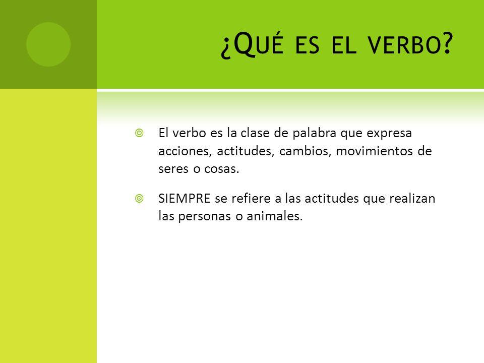 ¿Q UÉ ES EL VERBO ? El verbo es la clase de palabra que expresa acciones, actitudes, cambios, movimientos de seres o cosas. SIEMPRE se refiere a las a