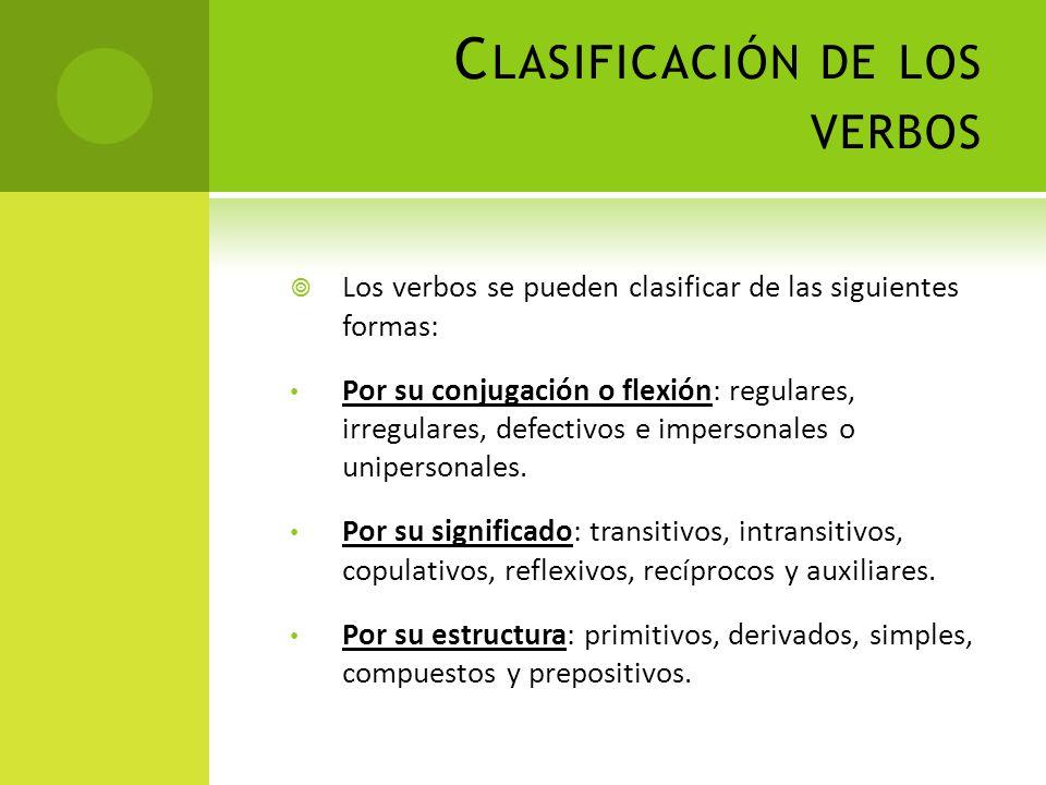 C LASIFICACIÓN DE LOS VERBOS Los verbos se pueden clasificar de las siguientes formas: Por su conjugación o flexión: regulares, irregulares, defectivo